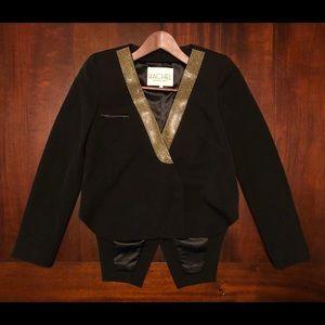 Rachel Roy Tuxedo Blazer Gold Rhinestone Sz 0